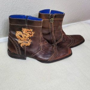 Mark Nason dragon brown leather zip up boots